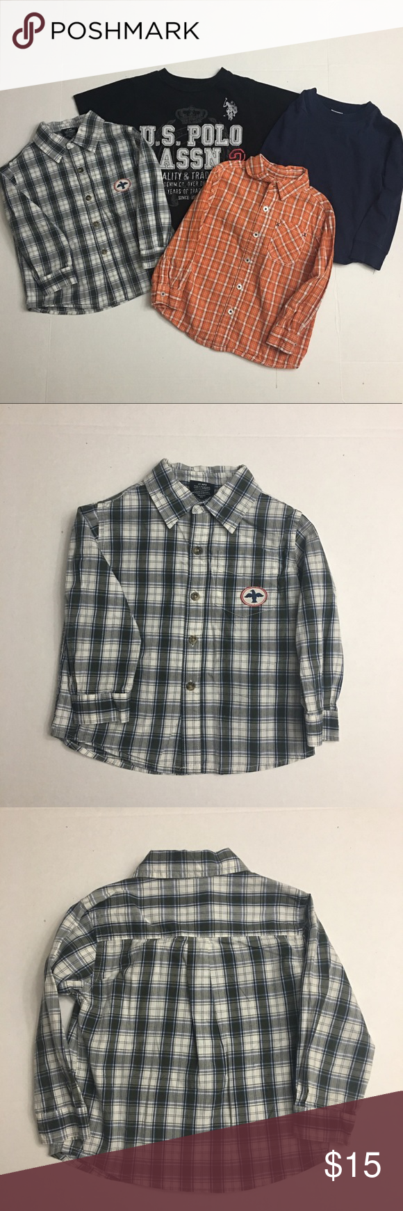 3t Top Lot All Size 3t Faded Glory Gray Blue White Dress Shirt Cherokee Orange And White Black Shirt Dress Black Short Sleeve Shirt Blue Long Sleeve Shirt