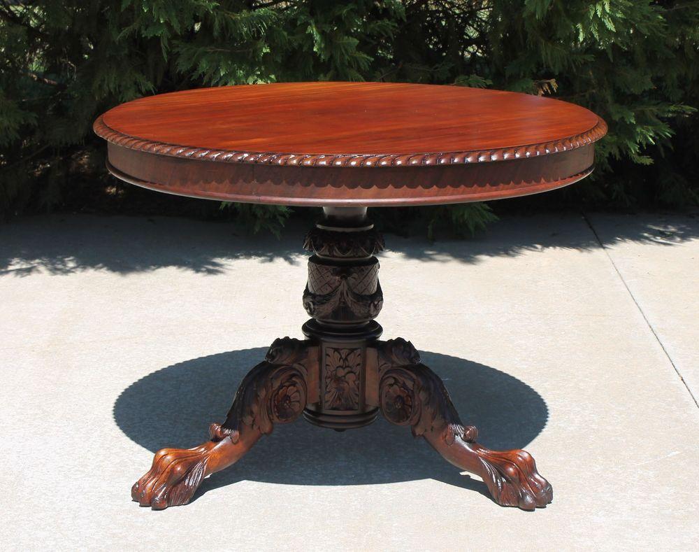 ~ Empire Mahogany Round Parlor Center Table w/ Heavily Carved Pedestal & Paw Feet ~ ebay.com