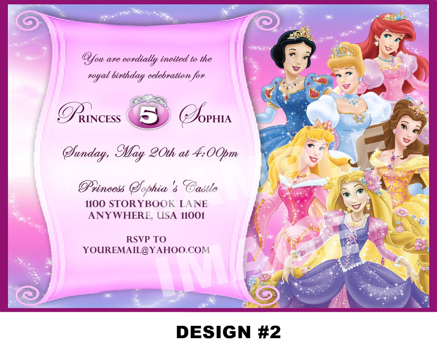 Disney Princess Party Invitations Princess Party Princess