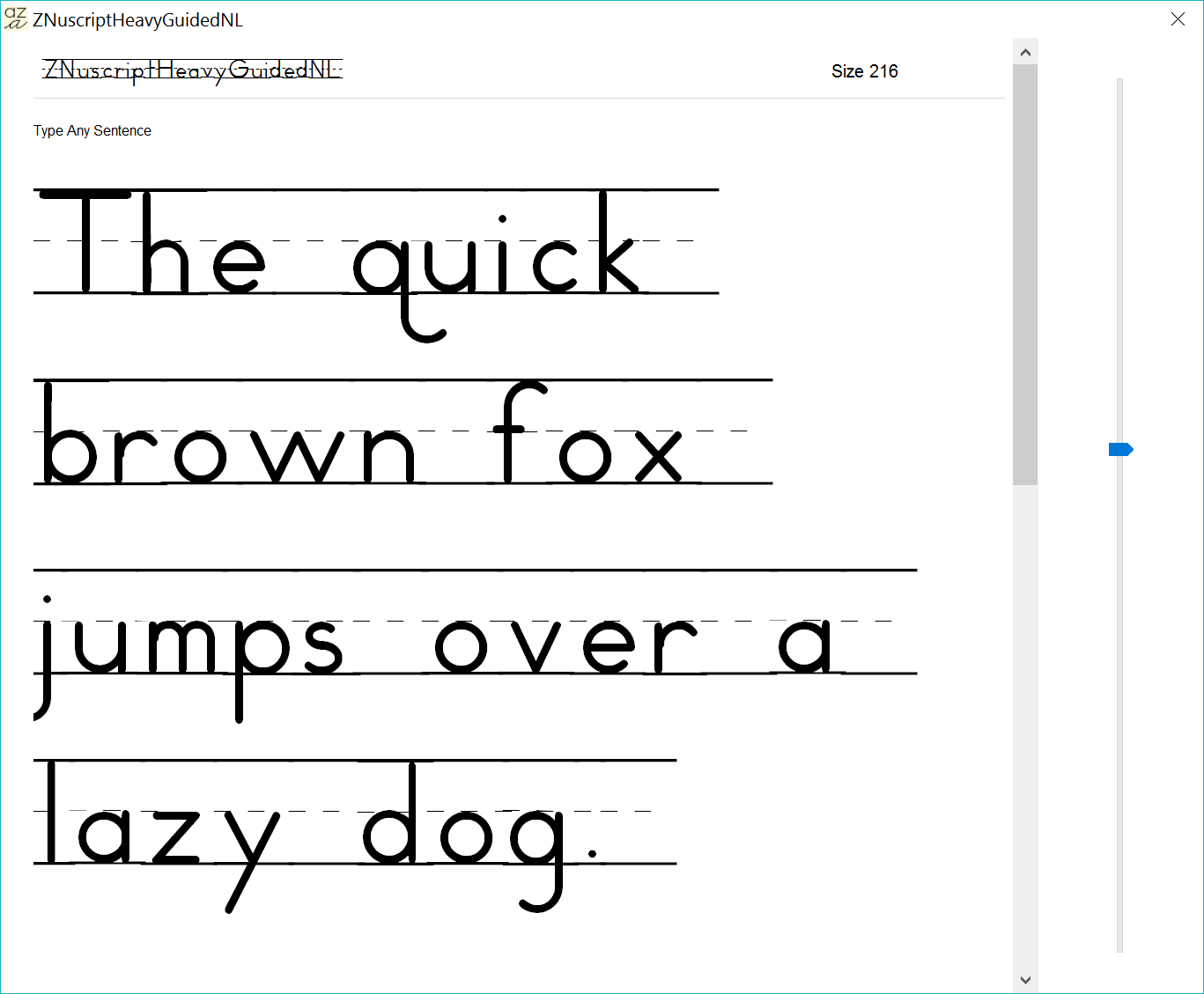 Show One Of The Zaner Bloser Fonts