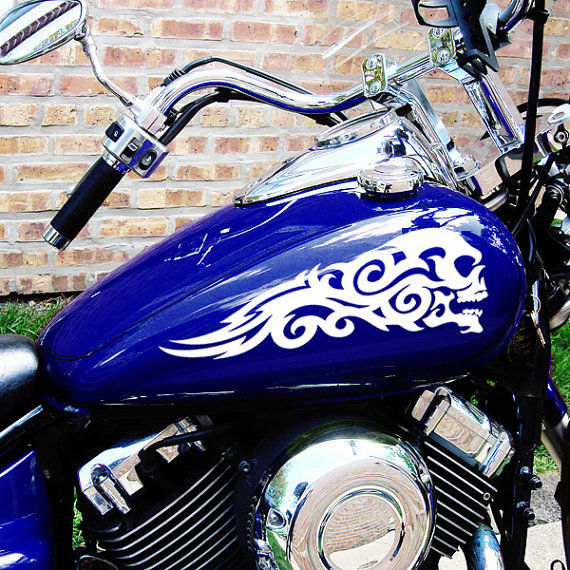 Tribal Skulls Motorcycle Tank Decals Or Saddlebag Stickers - Best custom vinyl decals for motorcycle seat