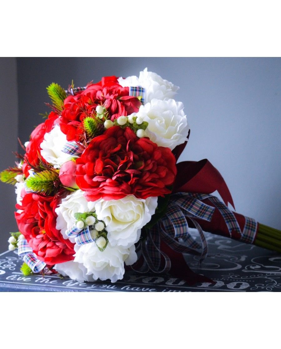 Dress Stewart Tartan - Ready to Ship Brides Bouquet in Deep Red ...