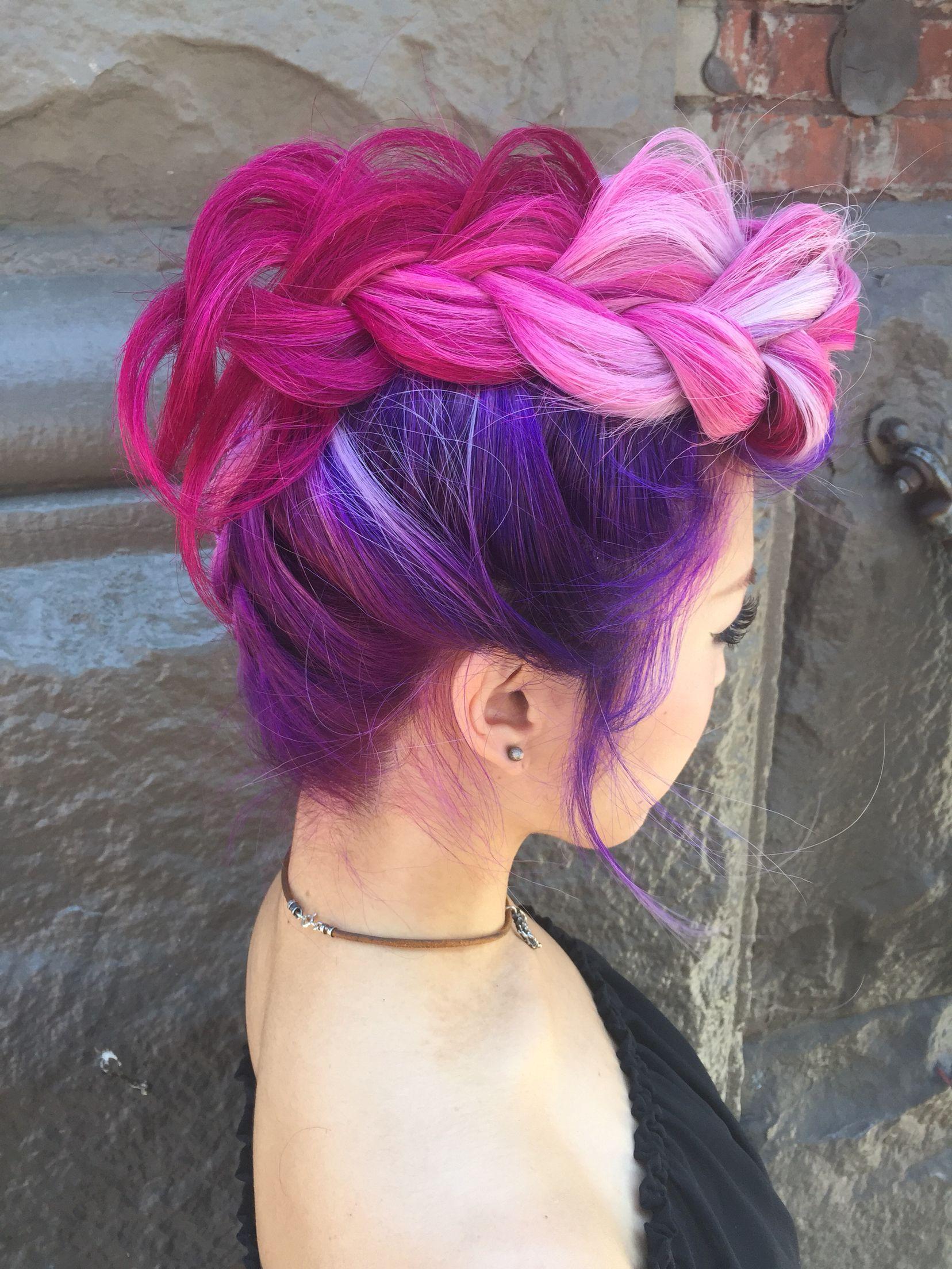 Hot pink braided mohawk by me heatherchapmanhair snapchat
