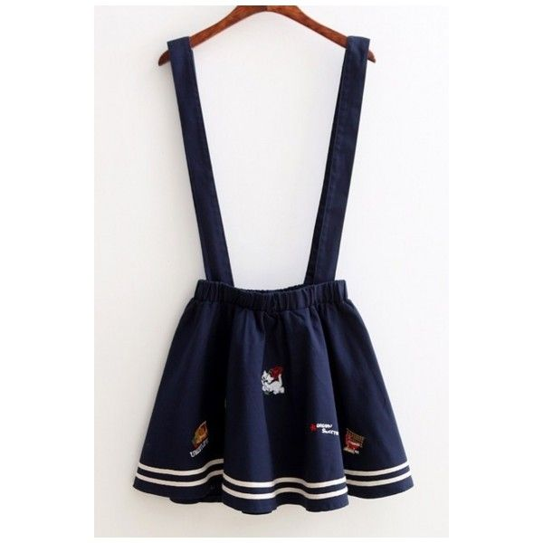 12aaecbfec Cartoon Cat TV Embroidered A-Line Mini Pleated Overall Skirt ( 26) ❤ liked  on Polyvore featuring skirts