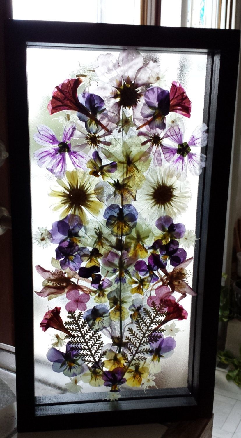 Real Pressed Flower Collage on Glass in 7 x 13 Floating