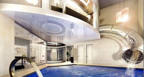 pool with slide inside the house say what