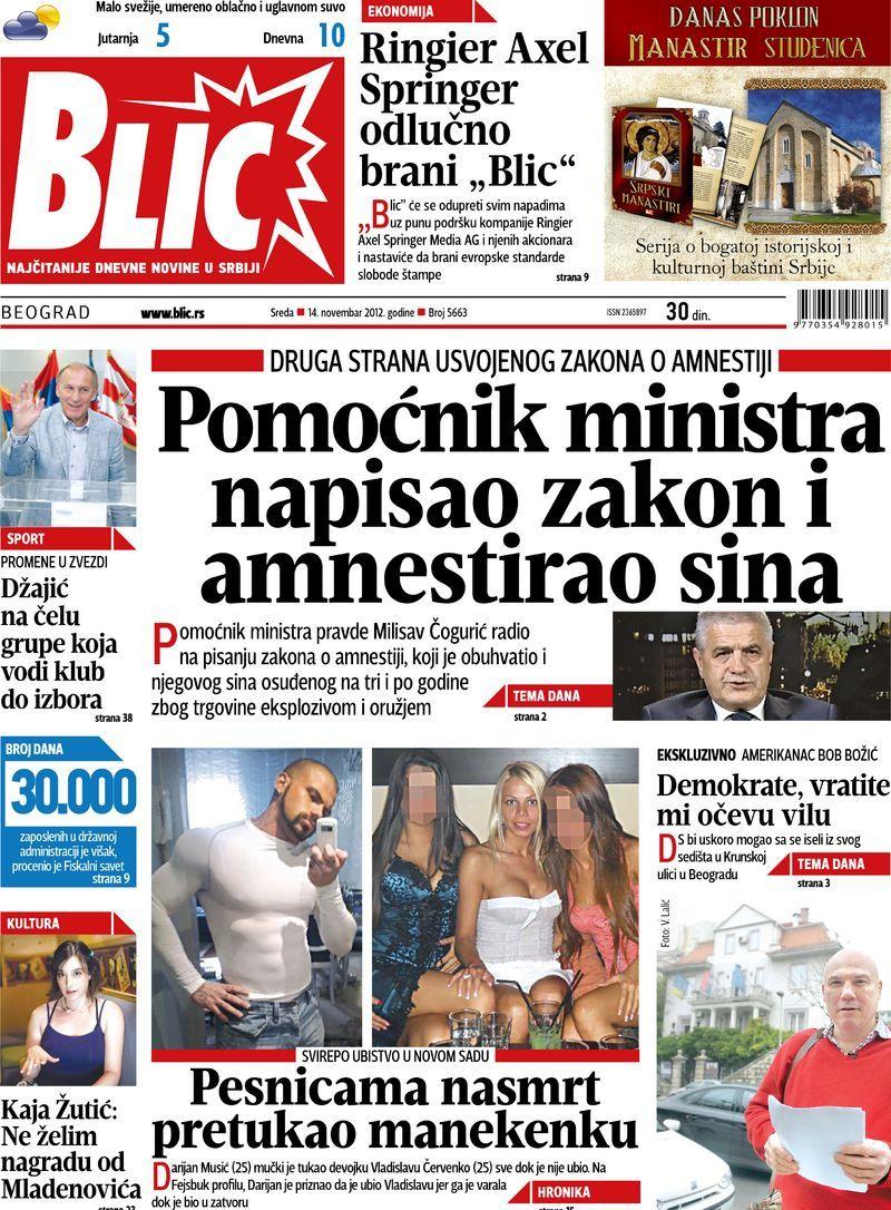 "Naslovna strana ""Blica"" za 14. novembar 2012. Playbill"