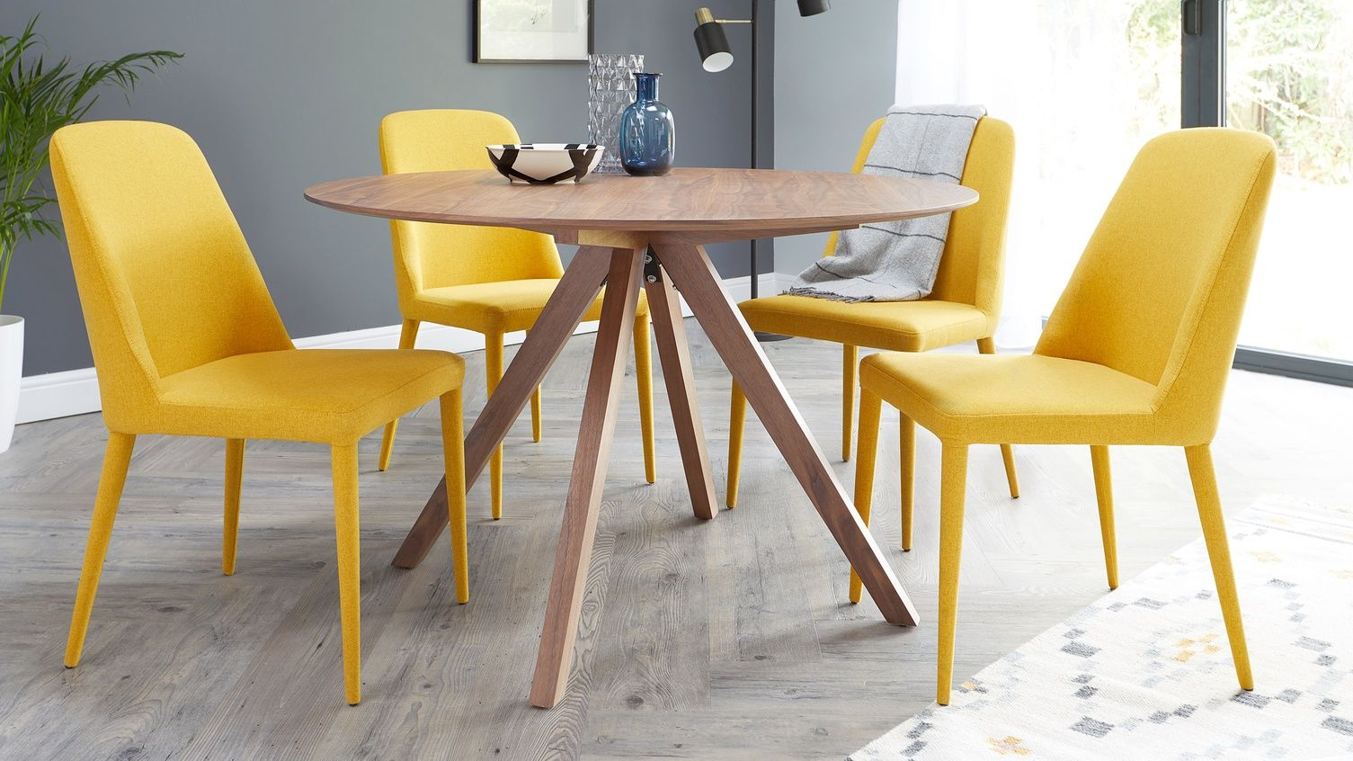 Alessio Walnut Round Table And Fergus Faux Leather Dining Chair Set Yellow Dining Chairs Dining Chairs Dining Chair Design
