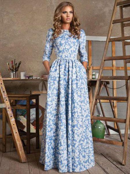 27b8390b4f4 Pleated Maxi Dresses Printed 3 4-Length Sleeve Back Zipper Women s ...