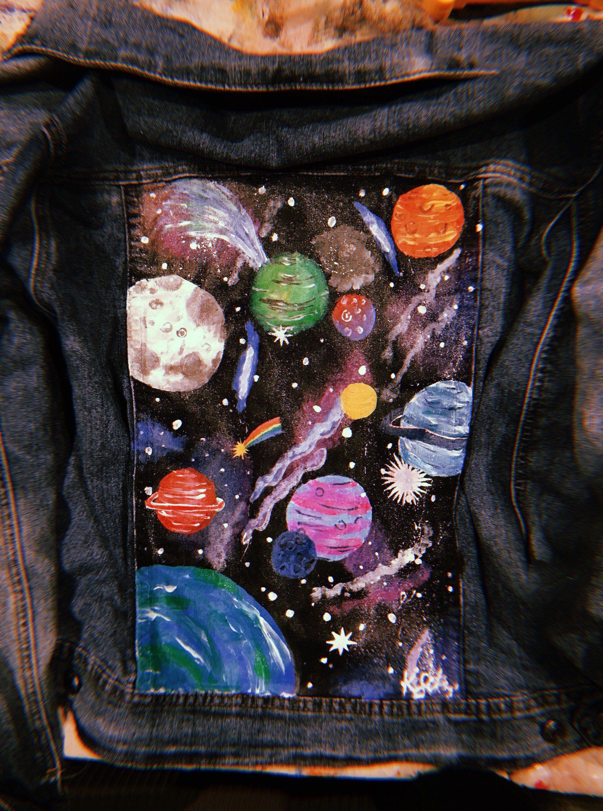 Glow in the dark hand painted space jean jacket #jeanjacketoutfits
