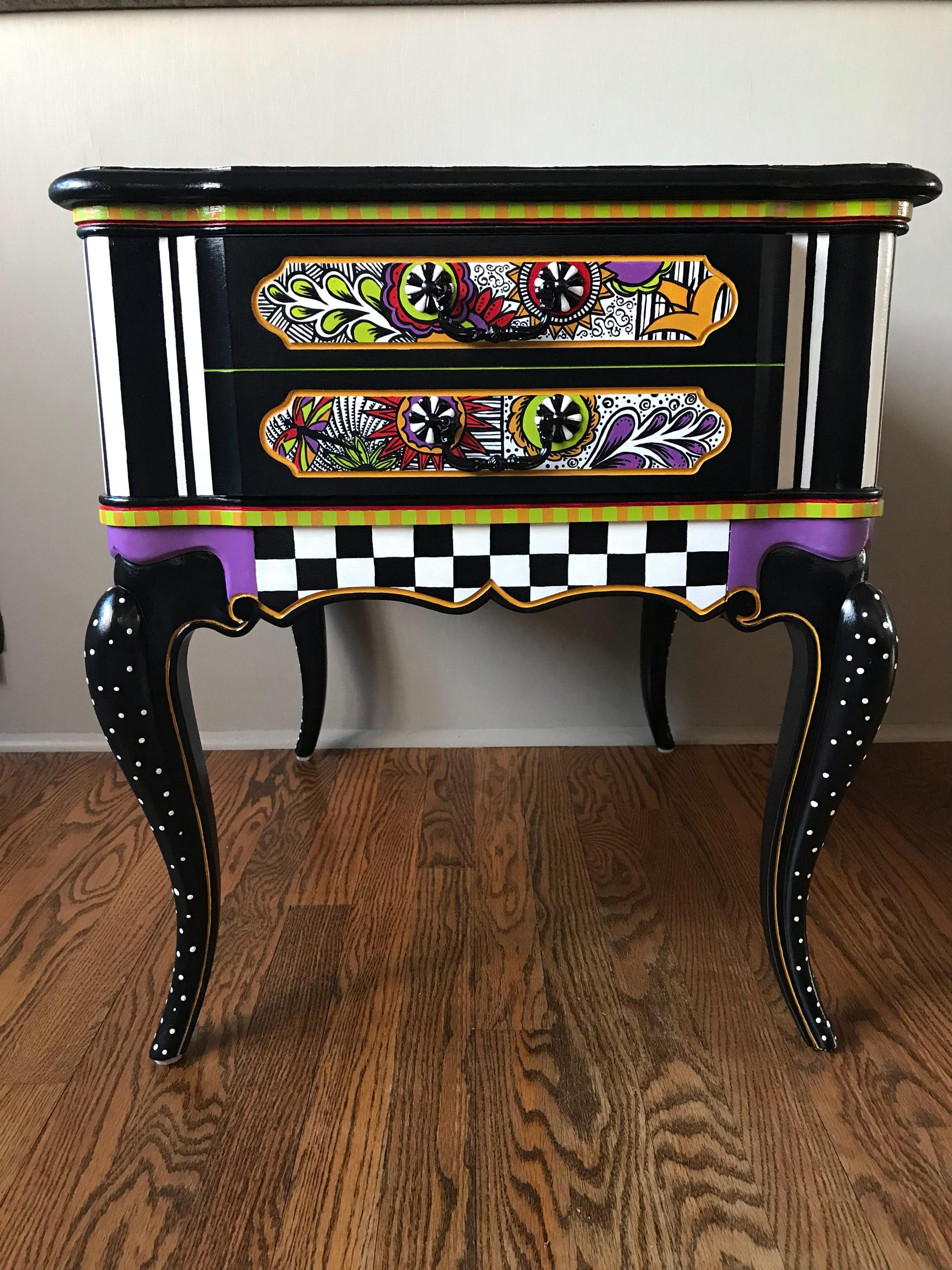 One Of Kind Hand Painted End Table Painted End Tables Painted Furniture Whimsical Furniture