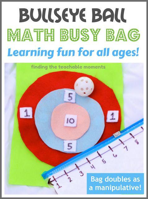 Bullseye Ball- Math Game in a Bag.  Bag doubles as a manipulative!