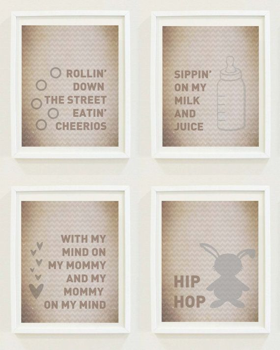 Hip Hop Baby Funny Nursery Prints Milk And Juice Rap