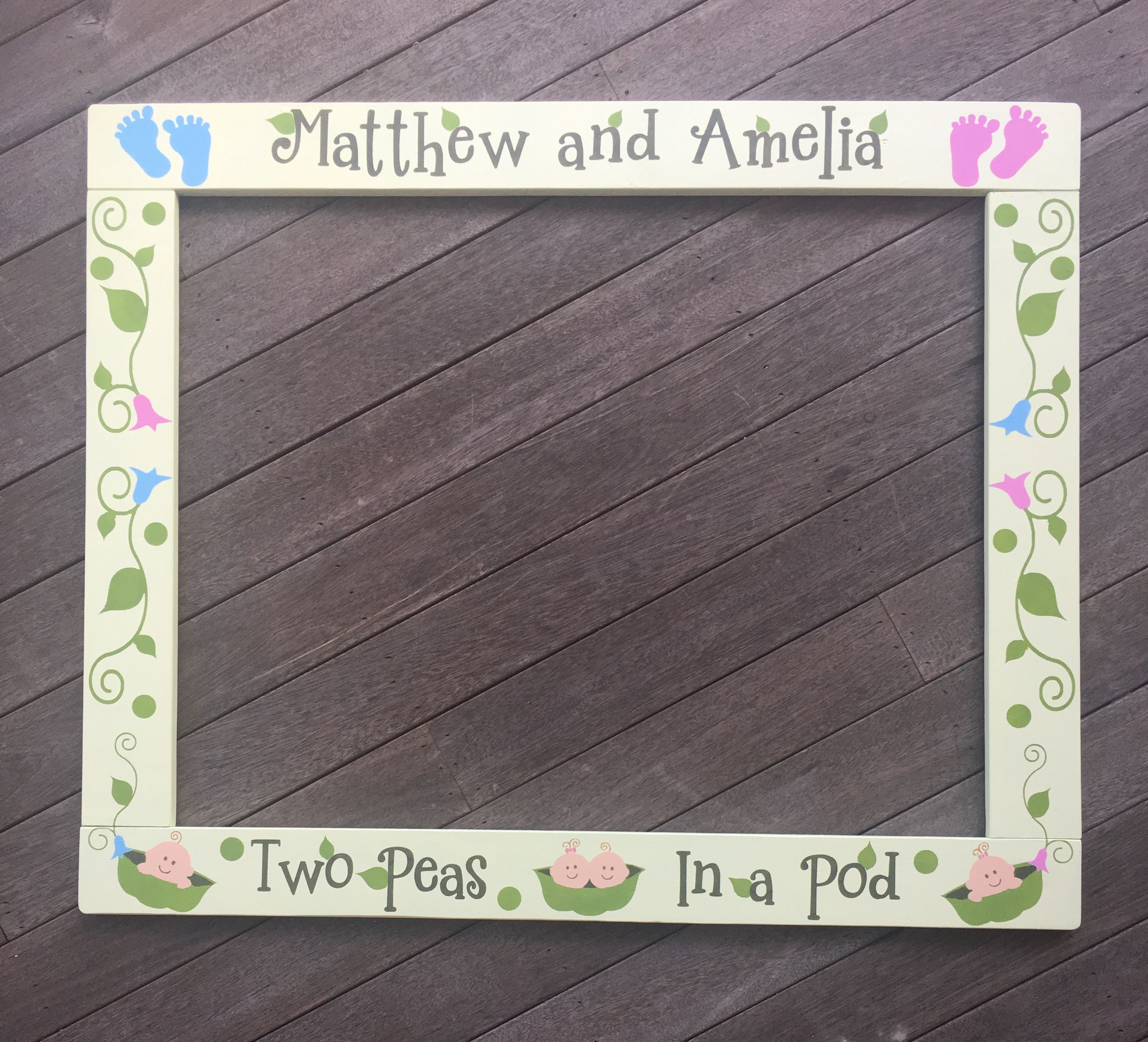 Baby Shower Photo Booth Frame Twins Photobooth Frame Baby Shower