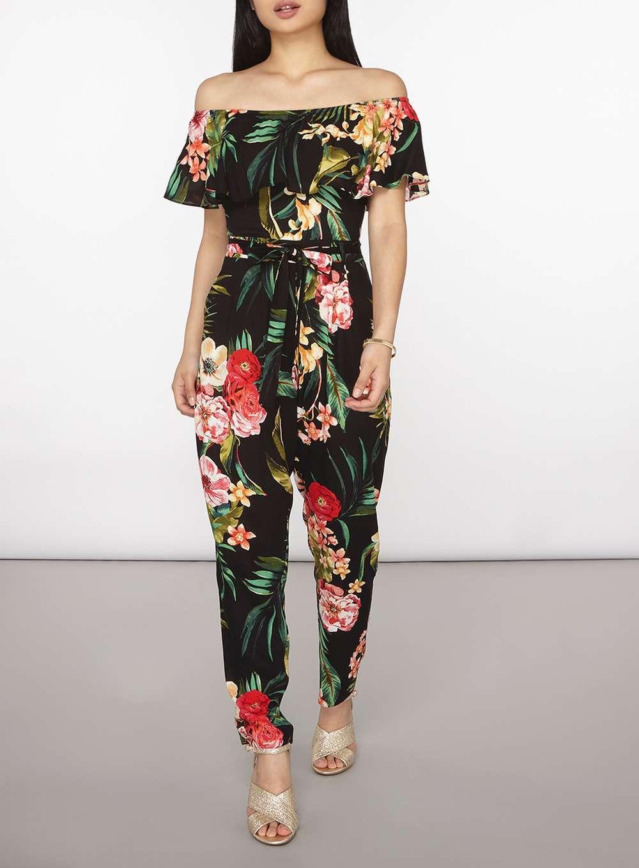 f3726d99767 Womens Petite Black Floral Bardot Jumpsuit- Black