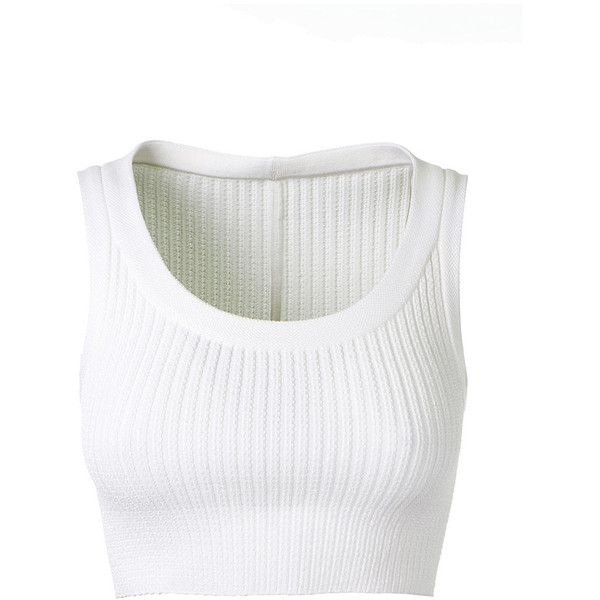 Azzedine Alaïa Cerceaux Stretch Knitted Crop Top (€965) ❤ liked on Polyvore featuring tops, crop top, shirts, tank tops, crop shirt, sleeveless crop top, round neck crop top and white top
