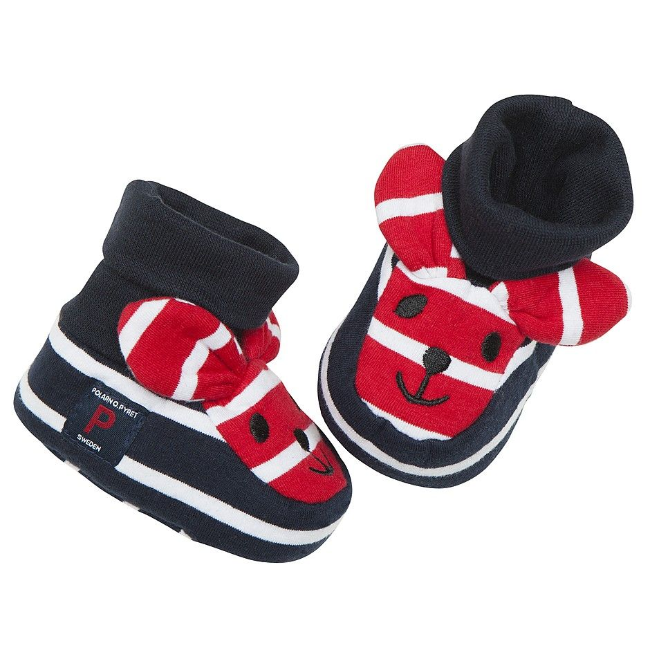 Polarn O. Pyret Red, White and Blue Striped Baby Booties. Adorable, playful