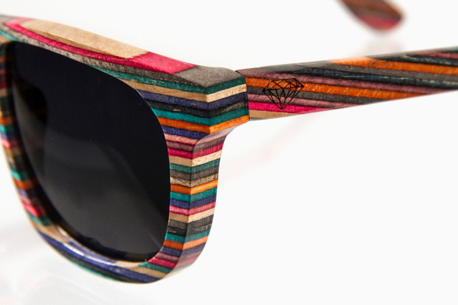 2db9dcb363b Brilliantly Crafted 100% recycled skateboard wood sunglasses by Diamond  Supply
