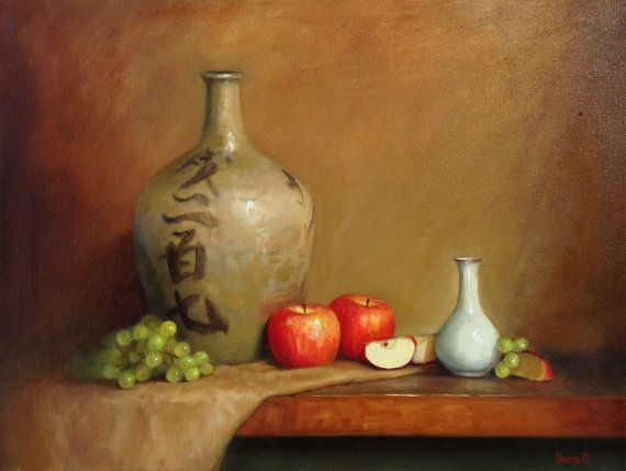 Still Life With Vase And Apples Original Oil Painting Oil On