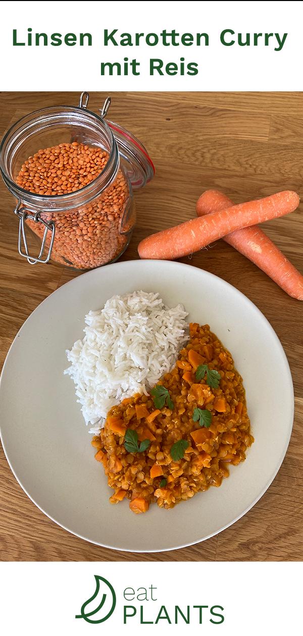 Leckeres pflanzliches Linsen Curry für die warmen Tage schnell zubereiten? Unser veganes Linsen Karotten Curry ist lecker, braucht wenig Zutaten und ist schnell gekocht!