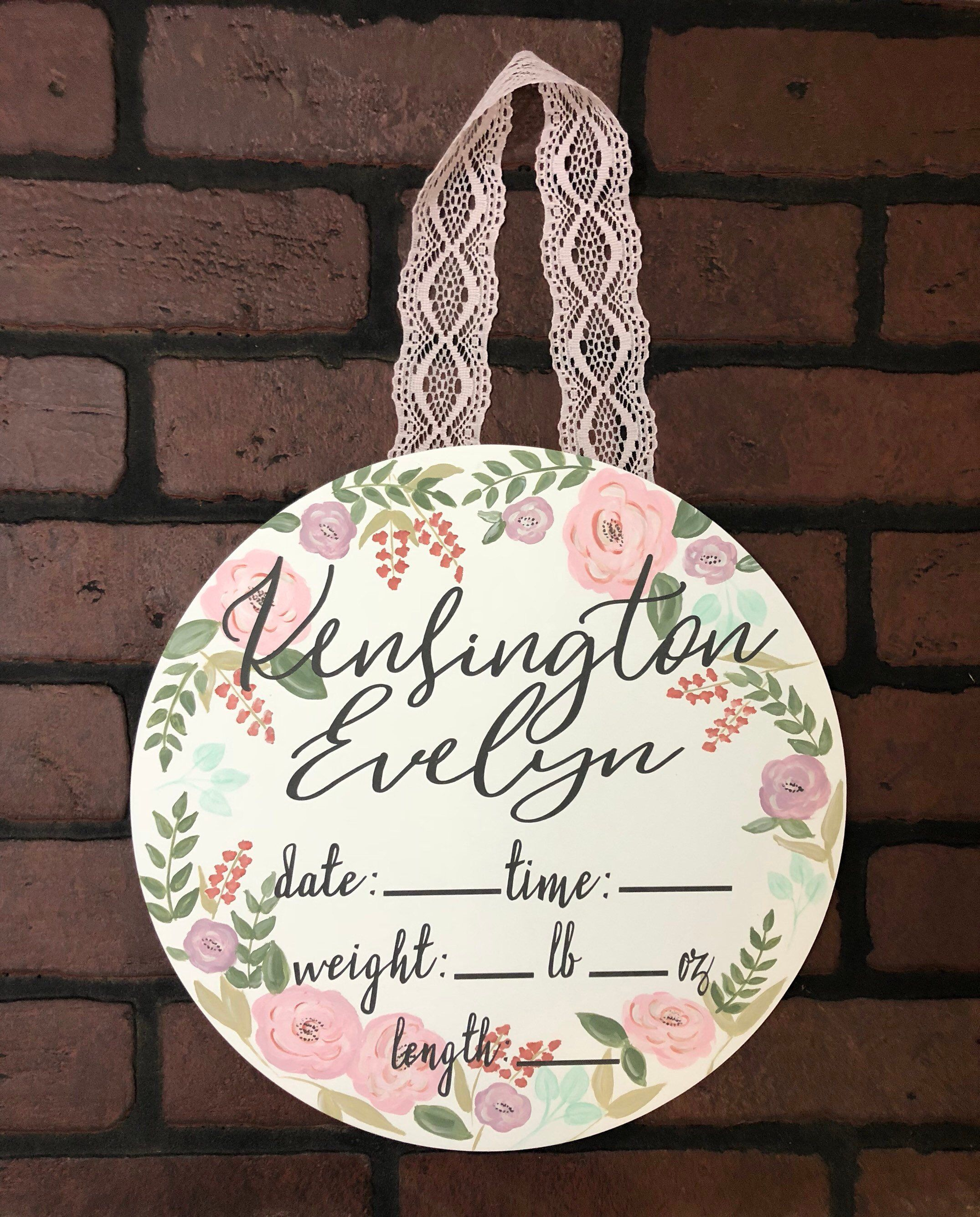 Baby announcement sign, nursery room sign, delivery room