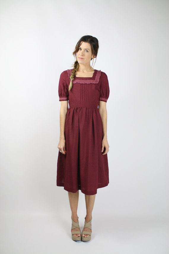 Japanese Vintage Dress, Maroon Broderie anglaise trim Puff sleeves Full skirt Square neck Kawaii Lolita 80s 90s, St. Moritz, Small