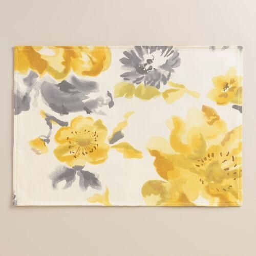 Yellow And Gray Floral Fleurs Placemats Set Of 4 Yellow Placemats Placemats Grey Floral