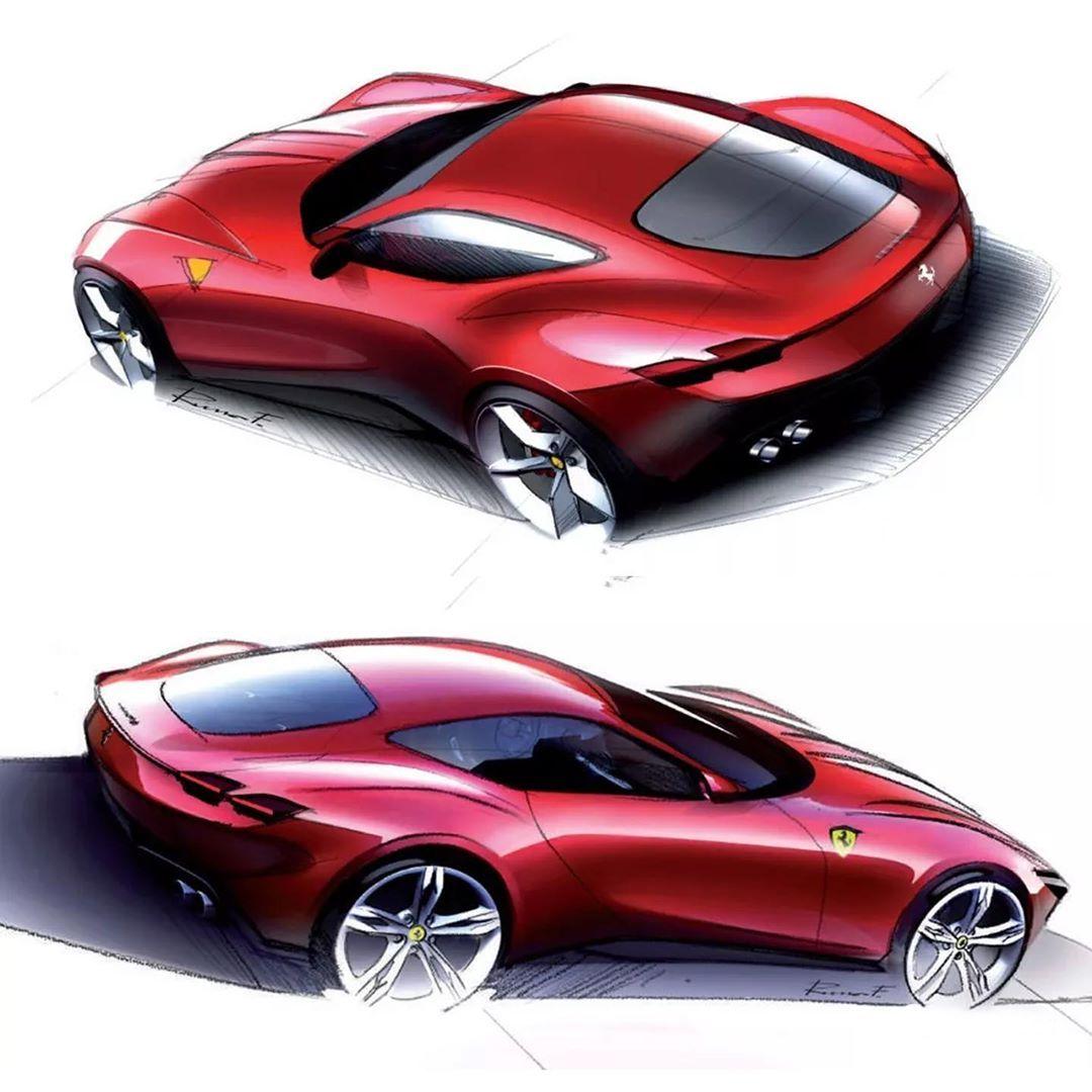 """Ferrari Designer: Car Design Sketch On Instagram: """"Ferrari Roma Official"""