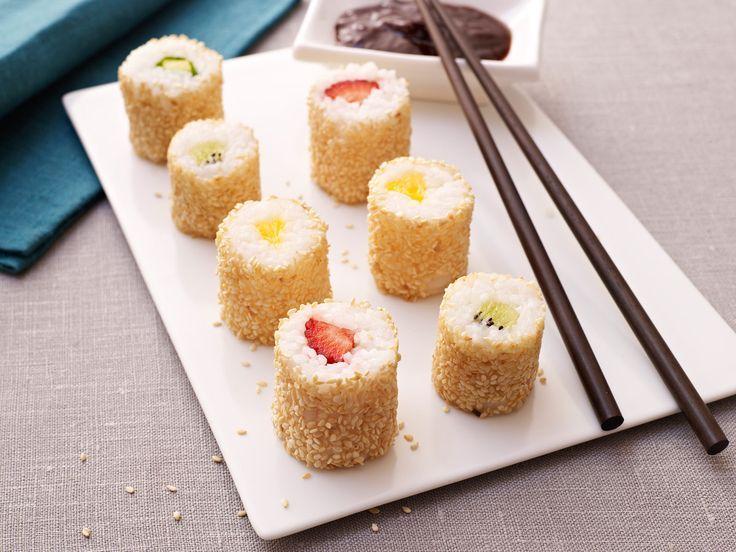 Photo of Sweet sushi – milk rice without lime, as fruit mango and nectarine