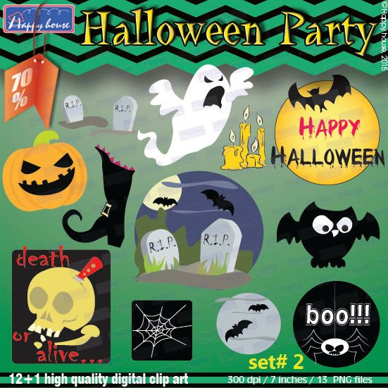 halloween clipart pack decorationshalloween digital cliparthalloween printablehalloween partyhalloween - Halloween Party Supplies