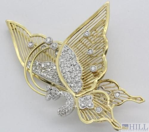 18k-Solid-Yellow-Gold-3-4-Ct-Diamond-Butterfly-Insect-Trembler-Pin-Brooch-Lot-44