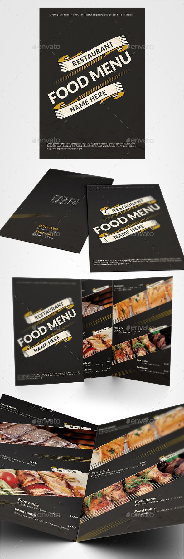 Restaurant Food Menu by D-S The file is 16.7711.9 inches with 0.12 in bleeds, A4 one page, CMYK whit 300DPIThe PSD files are very well organised and layers na