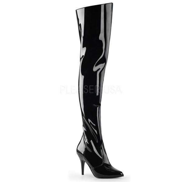 VANITY-3010 Thigh High Boots by Pleaser. Black patent thigh high ...