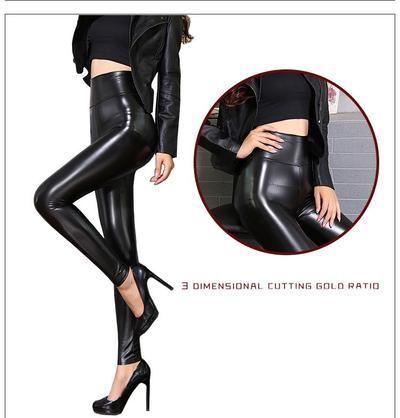 917852446577b BIVIGAOS Fall Winter Women's Fleece Black Leather Pants Female PU Leggings  Slim Skinny High Waist PU Leggings Trousers For Women