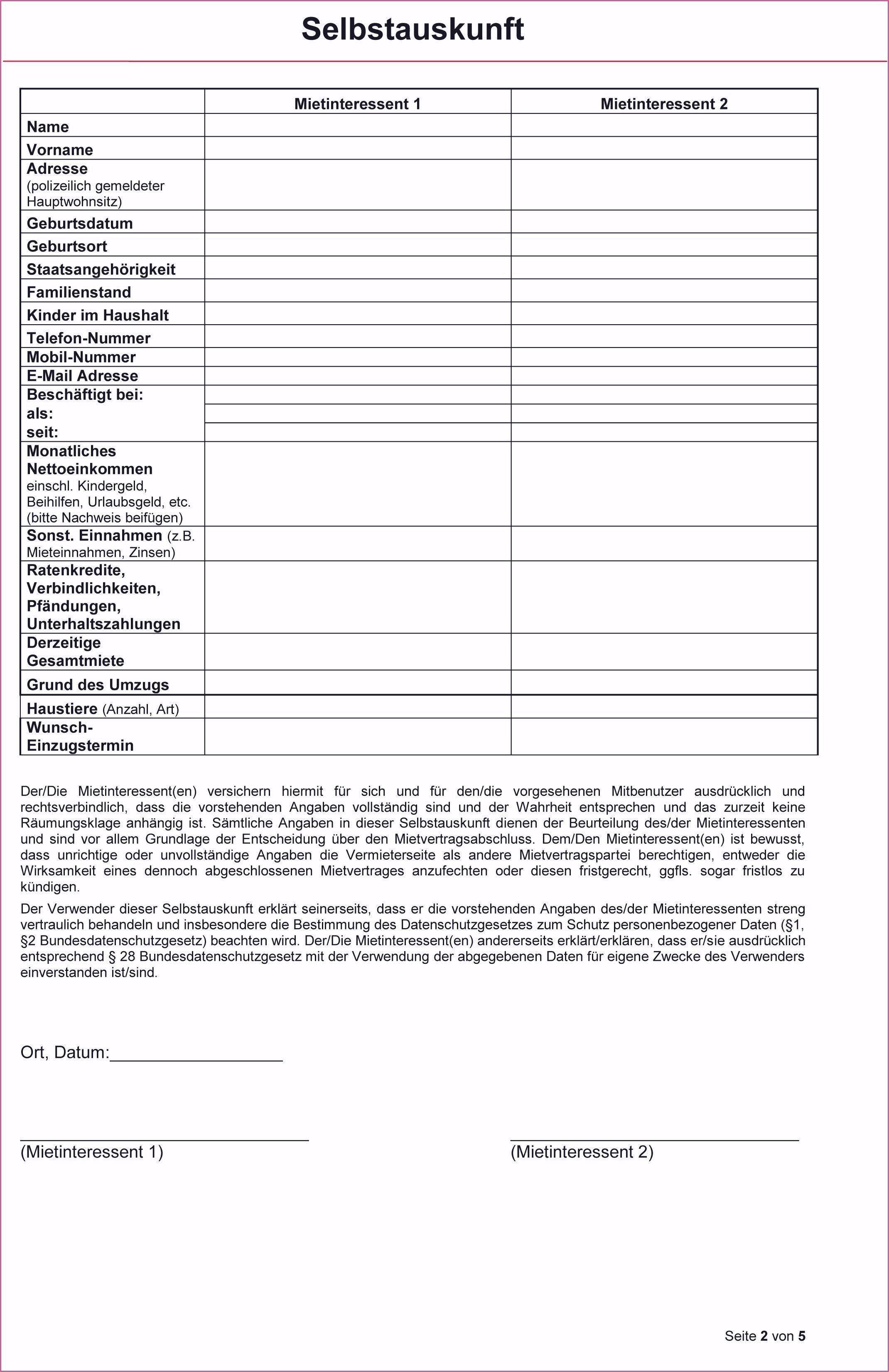 Mieterselbstauskunft Formular 2019 Vorlagen Unterschrift Formular