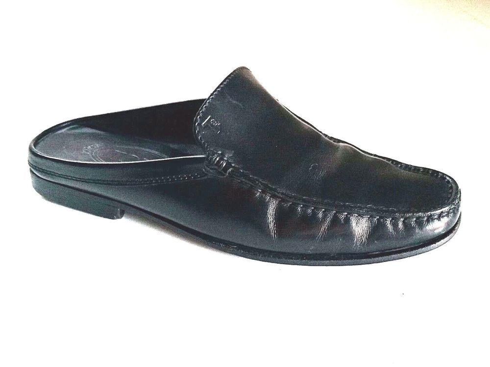 e601edf2243c TOD S Slip On Mules Loafer Pump Shoe Black Leather 7 37 Moc Toe Flat Italy   Tods  Mules  Any