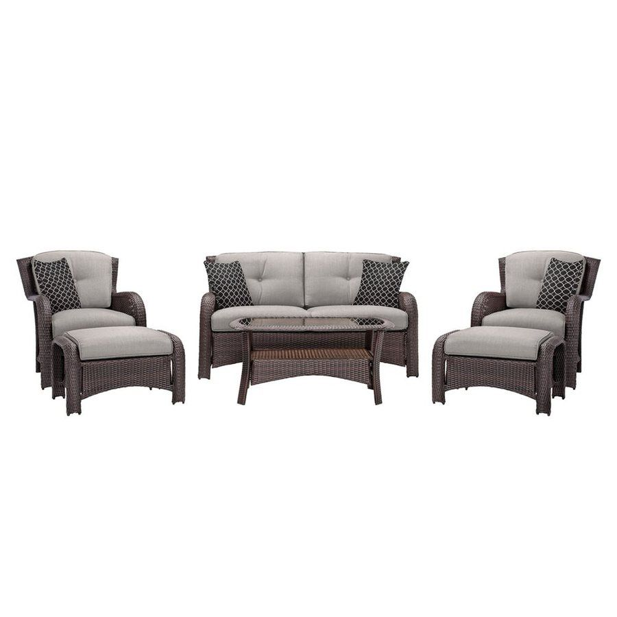 Hanover Outdoor Furniture Strathmere 6 Piece Wicker Patio Conversation Set With Silver Cushions At