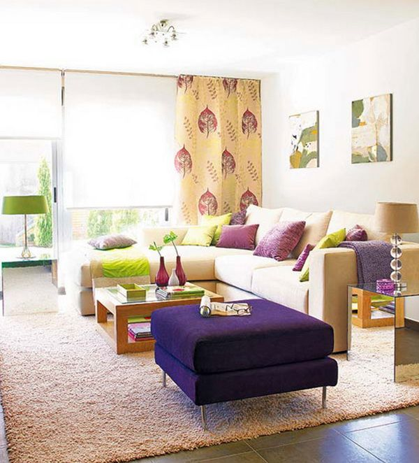Bright Casual Living Room with Colored Funiture Sets Picture House