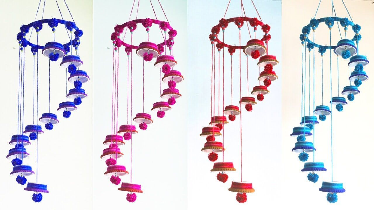 DIY Woolen and Plastic Cup Jhumar | Woolen Chandelier | Wool Wind Chime - YouTube | Wind chimes, Diy wind chimes, Crafts