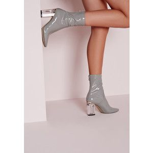 Missguided Patent Ankle Boots Perspex Heel
