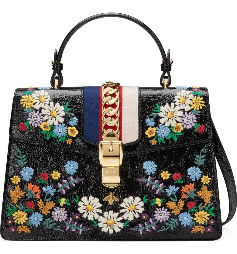 ba8c848b3 Free shipping and returns on Gucci Medium Sylvie Floral Embroidered Top  Handle Leather Shoulder Bag at Nordstrom.com. Merging house codes with  Alessandro ...