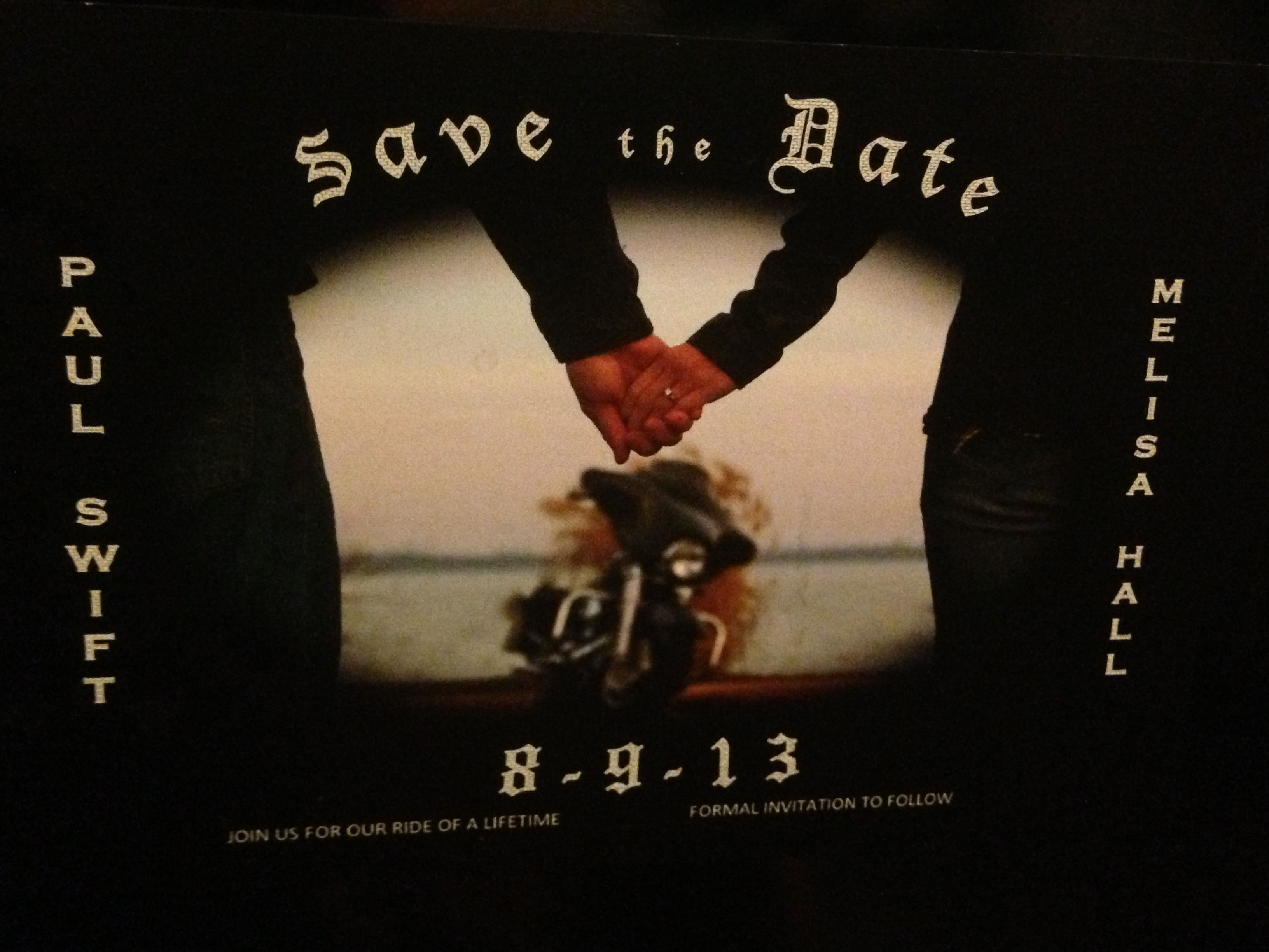 Motorcycle save the date idea hub and ggg wedding creations