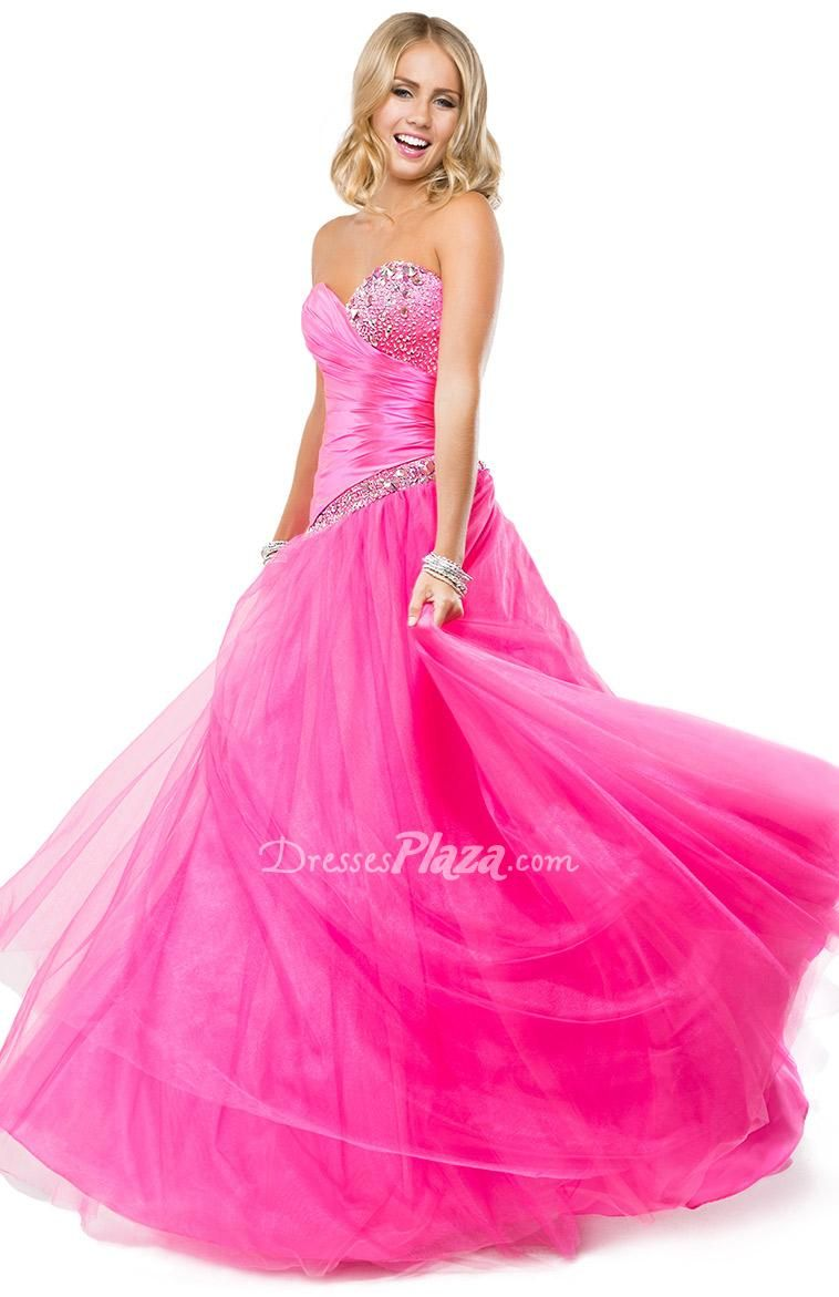 Strapless Sweetheart Pink Satin and Tulle Ball Gown Prom Dress at ...