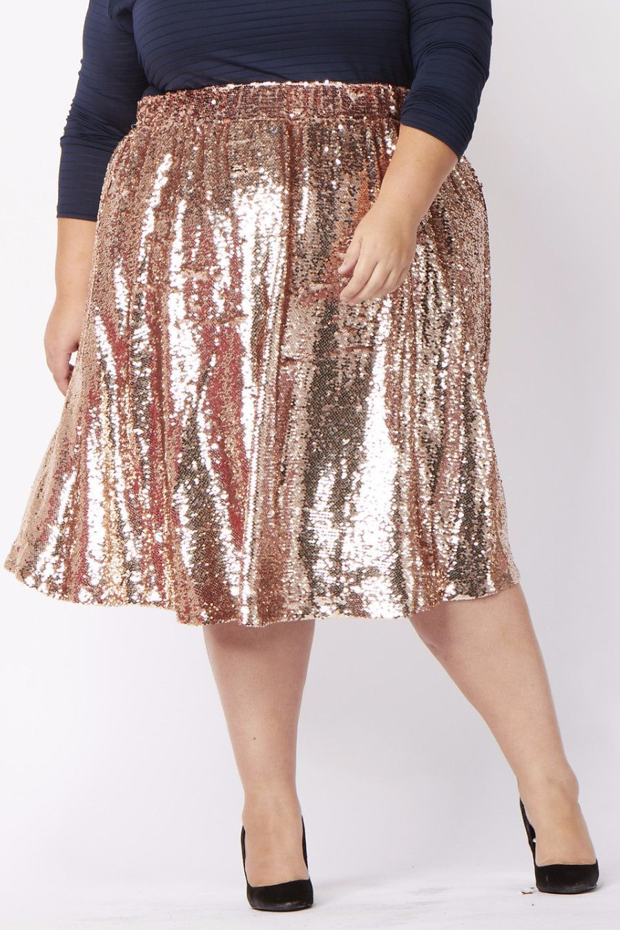 0c78a399dc3 Plus Size Clothing for Women - Mermaiden Sequin Skirt - Rose Gold -  Society+ - Society Plus - Buy Online Now! - 1