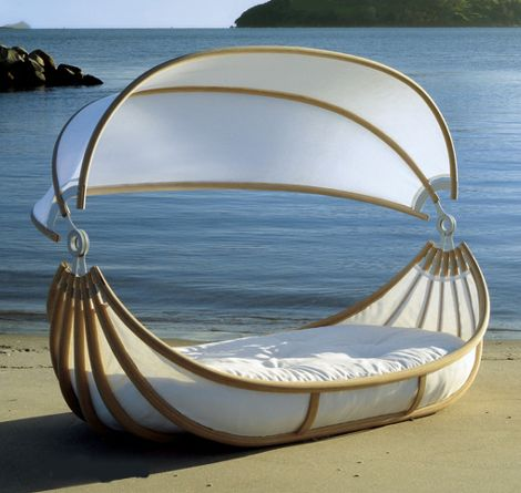 I would love to take a siesta in this Outdoor Canopy Bed.  Amazingly thick and cozy mattress to curl up in!!!!  @