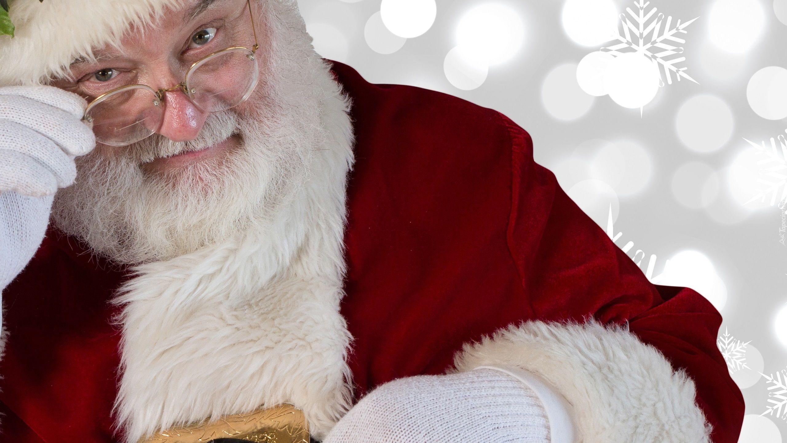 Mikołaj okulary Święta tapety świąteczne i okolicznościowe