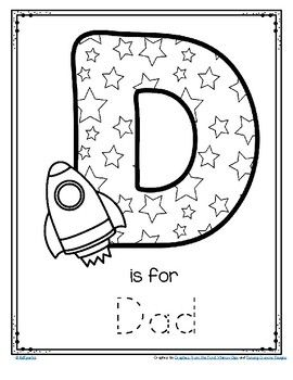 Father's Day Poster Card D is for Dad Trace and Color FREE