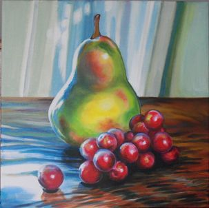 "Acrylic on wrapped canvas  SOLD  ""The Pear"" by Martha Iler"