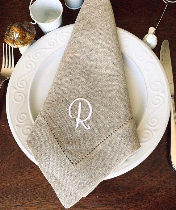 Ava Monogrammed Cloth Napkins /Set of 4 embroidered napkins/ personalized gift, monogram, wedding li