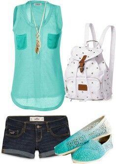 Teal sheer tank top and dark wash jean shorts white accessories